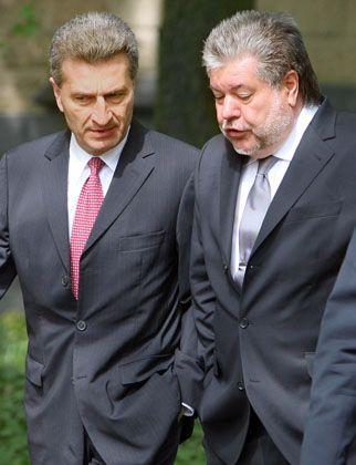 Kontrahenten: Günther Oettinger will die Online-Engagements von ARD und ZDF stärker reglementieren, Kurt Beck - im Nebenjob Verwaltungsratschef des ZDF - wünscht sich einen Freibrief