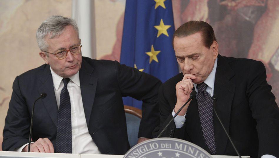 Finanzminister Tremonti, Regierungschef Berlusconi: Im Fokus der Hedgefonds-Manager