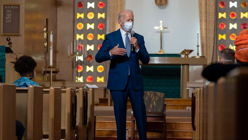 """Joe Biden in einer Kirche in Kenosha: """"Er hat darüber gesprochen, dass er sich nicht besiegen lässt"""""""