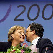 German Chancellor Angela Merkel was thanked by European Commission President Jose Manuel Barroso