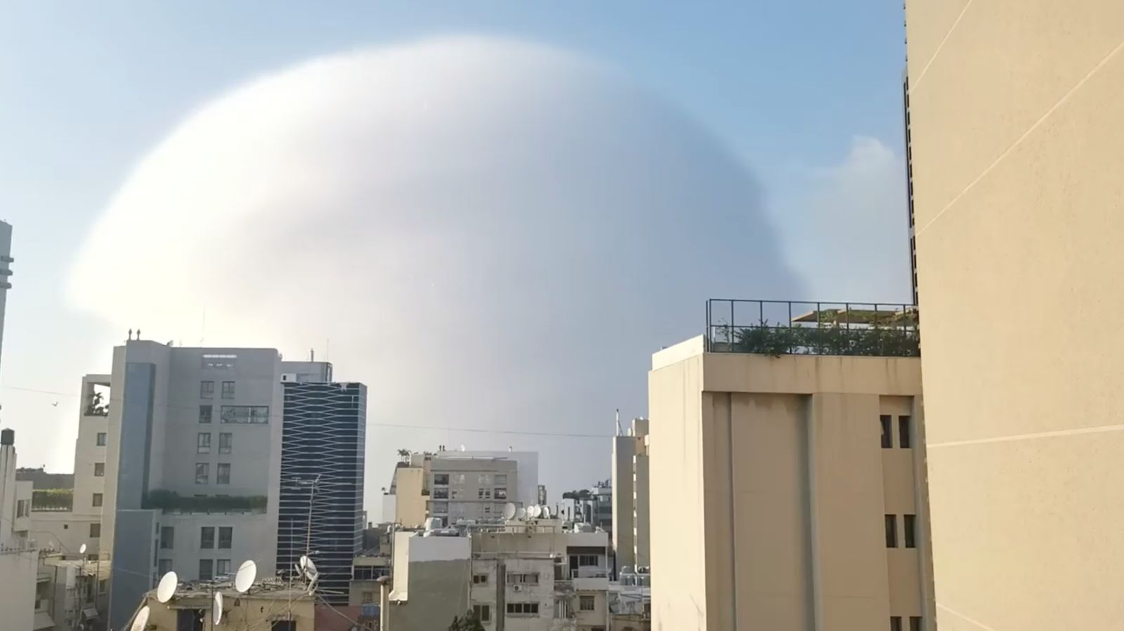 A shockwave is seen during an explosion in Beirut
