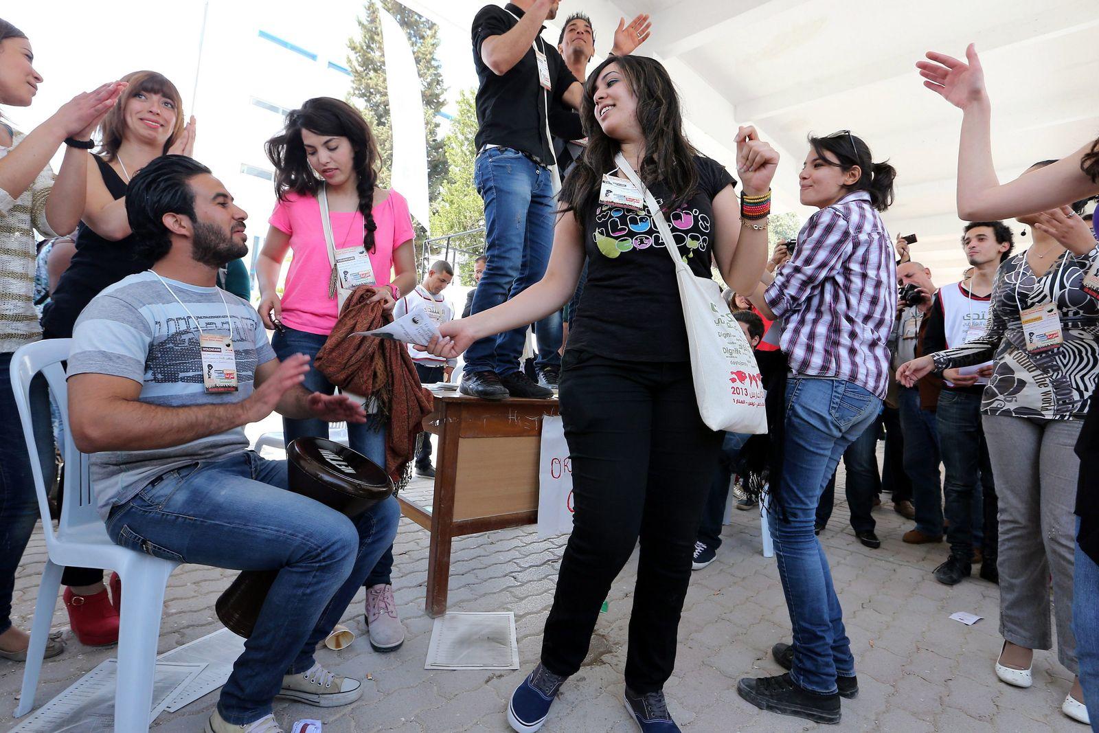 Teilnehmer des Weltsozialforums in Tunesien