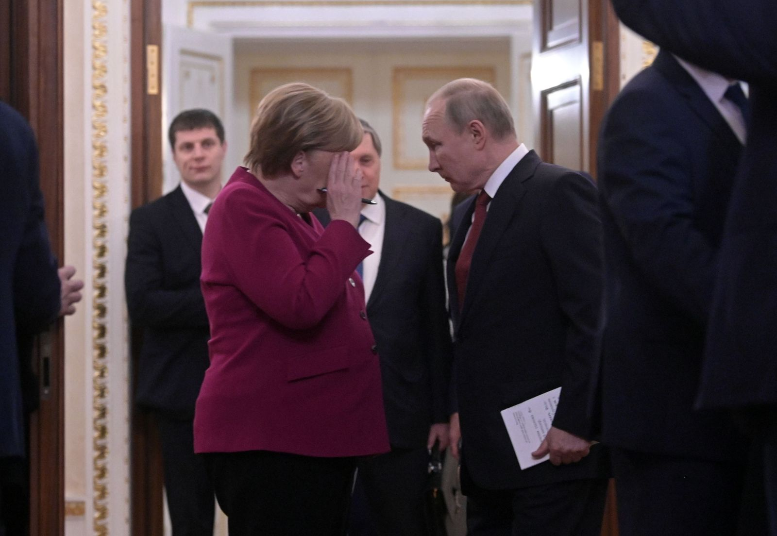 Russian President Vladimir Putin meets with German Chancellor Angela Merkel, Moscow, Russian Federation - 11 Jan 2020