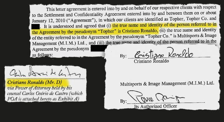 Documents that reveal Ronaldo's alias in the settlement agreement