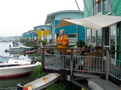 Anne van der Molen doesn't worry when the rainy season hits. Her house can swim.