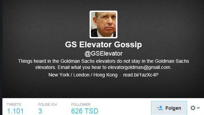 @GSElevator: Das angeblich Beste aus dem Fahrstuhl von Goldman Sachs