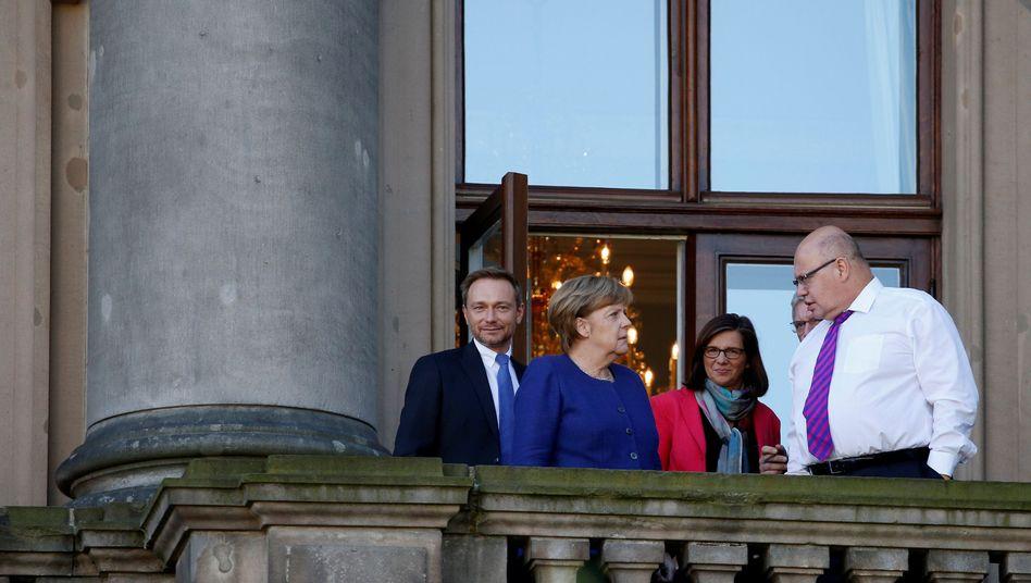 Christian Lindner, Angela Merkel, Katrin Göring-Eckardt, Peter Altmaier