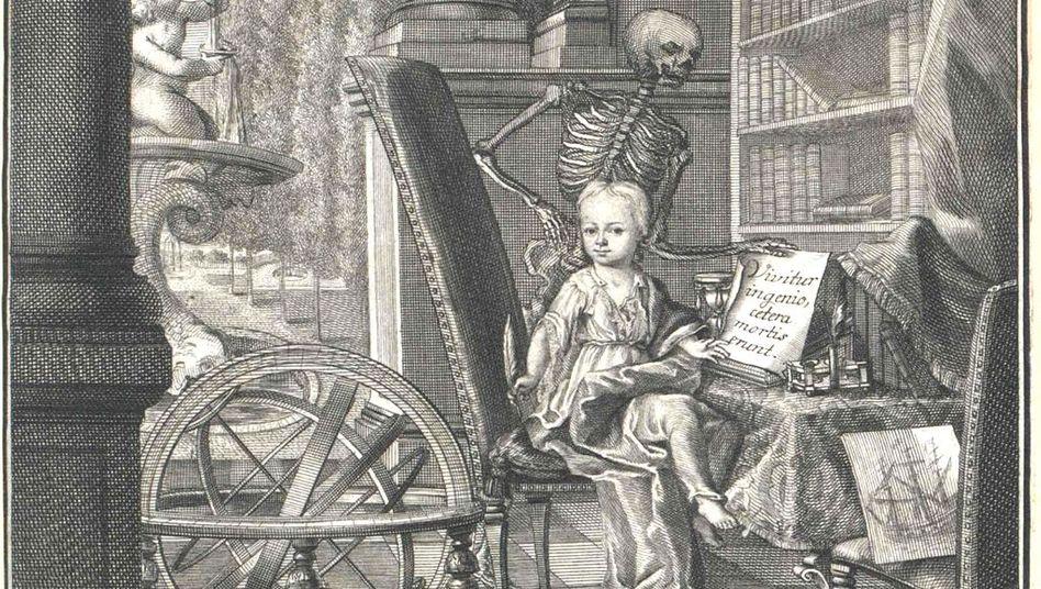 Den Tod im Nacken: Kupferstich des kleinen Heineken, angefertigt 1726 von Christian Fritzsch nach einem Gemälde der Wunderkind-Mutter Catharina Elisabeth Heineken