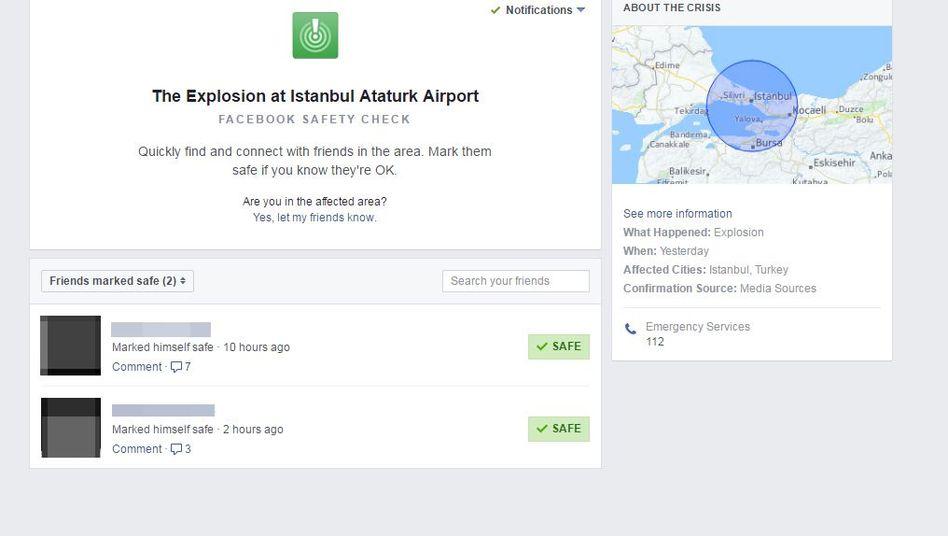 """Screenshot von Facebooks """"Safety Check"""" nach dem Anschlag von Istanbul"""