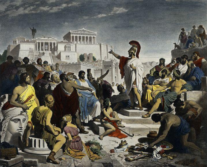 Versammlung im antiken Athen (Kolorierter Druck aus dem 19. Jahrhundert)