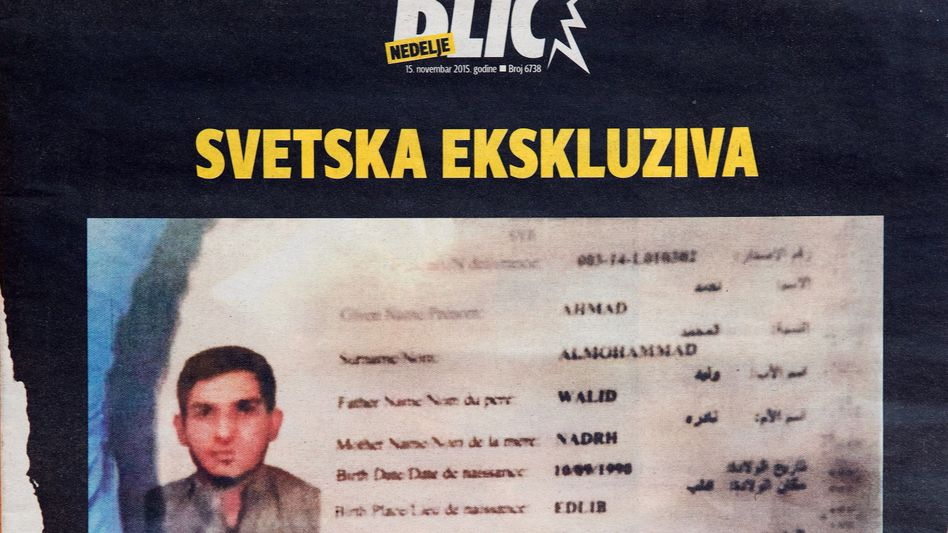A photo of the Syrian passport found near one of the suicide bombers in Paris, as seen on the front page of the Syrian magazine Blic on Nov. 15.