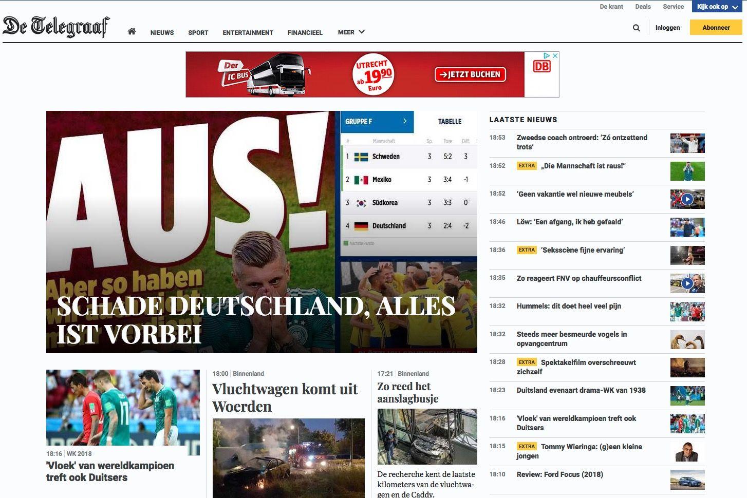 NURA ALS ZITAT Screenshot Telegraaf