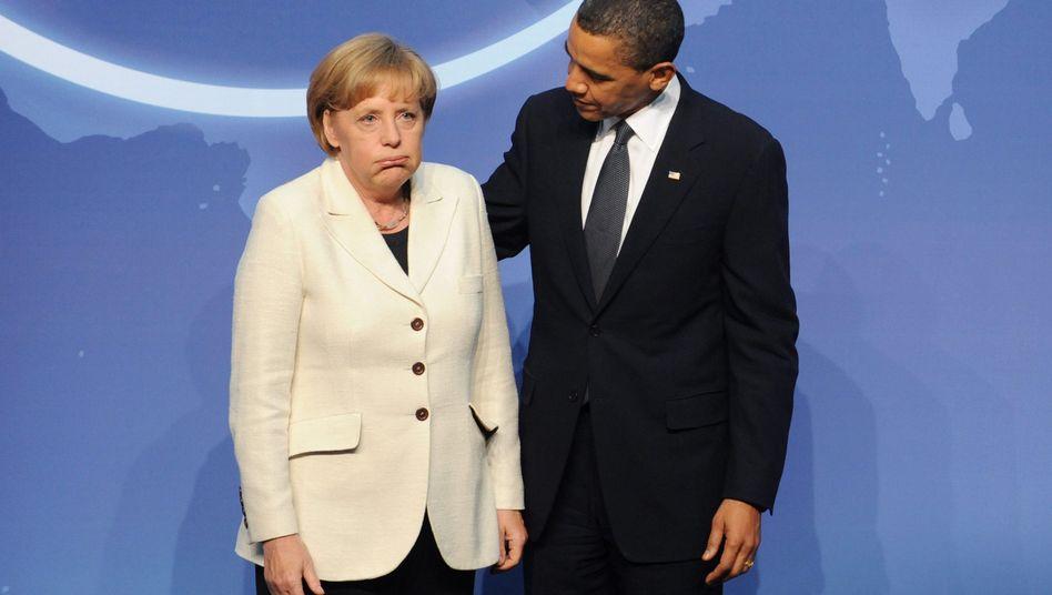"""Obama mit Merkel (Bild vom April 2010): """"Wichtiger Beitrag zur globalen Erholung"""""""
