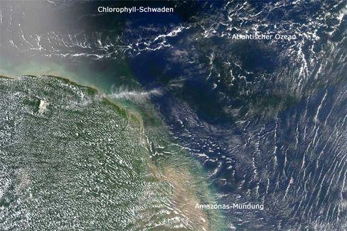 Fast schwarze Schwaden: Wasser aus dem Amazonas ist nährstoffreich und deswegen als dunkles Band im Atlantik zu erkennen