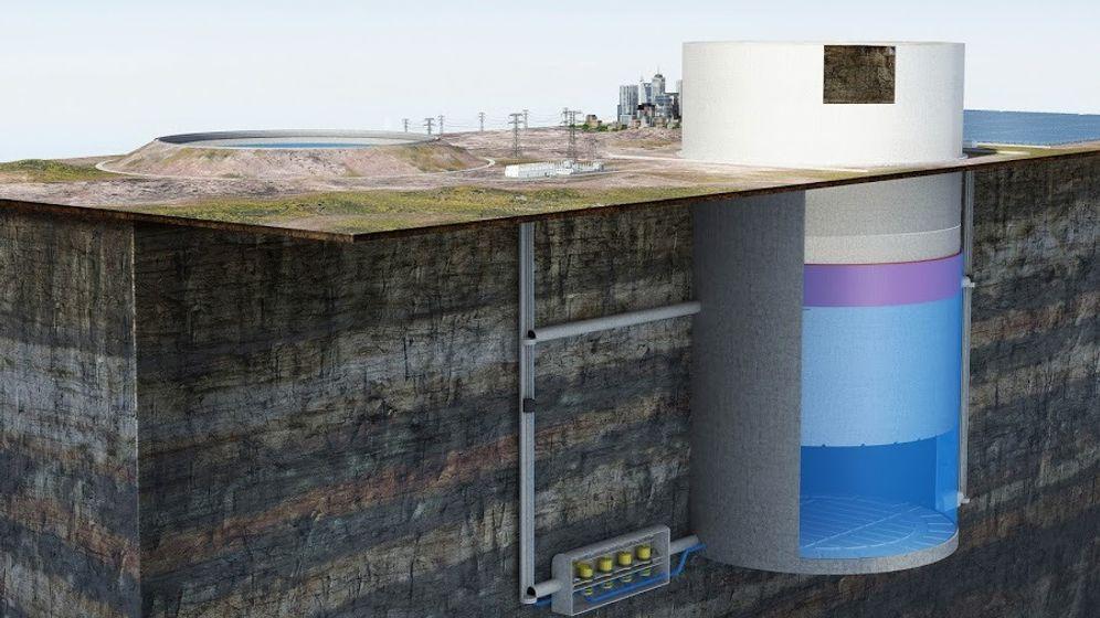 Wasser unter Steinzylinder: Pumpspeicherkraftwerk in der Wüste