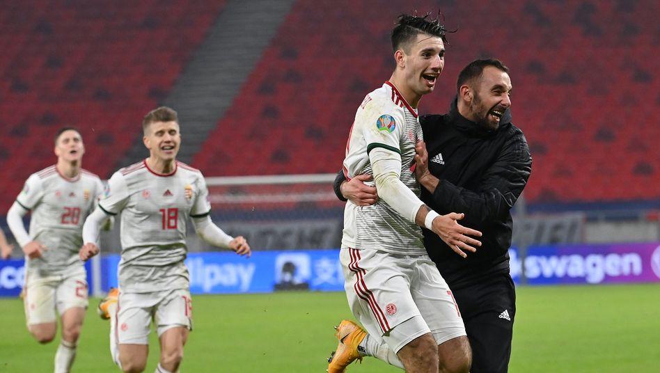 Ungarns Dominik Szoboszlai erzielte in der Nachspielzeit den entscheidenden Treffer gegen Island