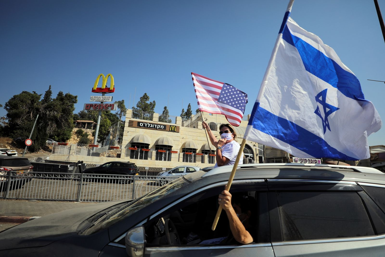 Convoy of Trump supporters drives to U.S. embassy in Jerusalem