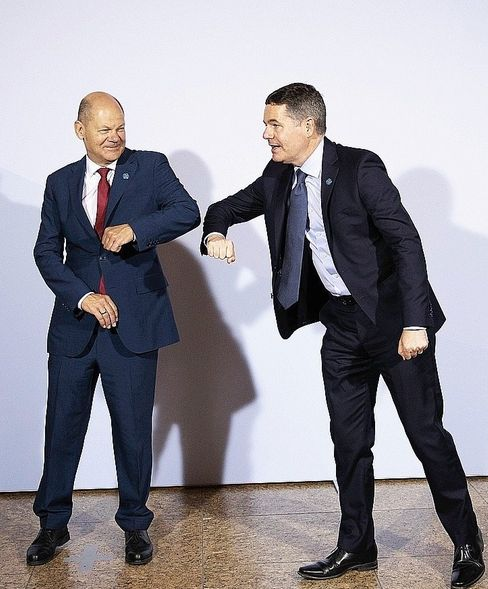 Getting Biden's proposal through in Europe require a lot of persuasion: German Finance Minister Olaf Scholz (left) and Irish Finance Minister Paschal Donohoe