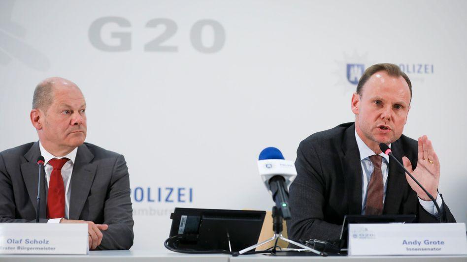 Hamburgs Erster Bürgermeister Olaf Scholz bei einer Pressekonferenz zur Bilanz des G20-Gipfels