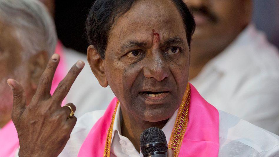 """Kalvakuntla Chandrashekar Rao, höchster Minister des indischen Bundesstaats Telangana: Streik als """"unverzeihliches Verbrechen""""."""