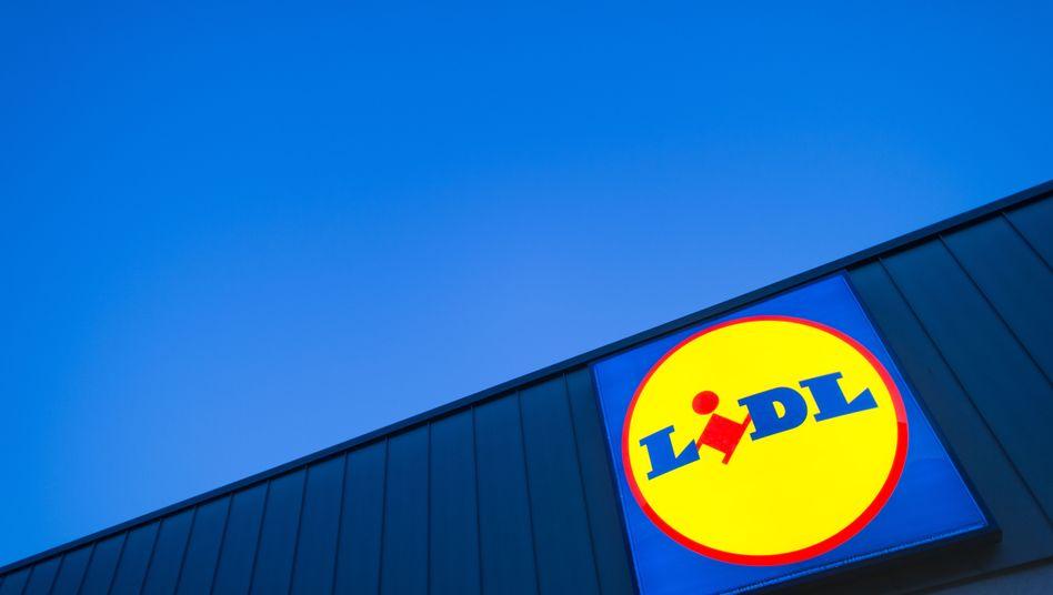 Das Logo eines Lidl-Supermarktes in Berlin-Reinickendorf
