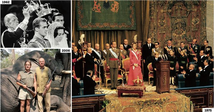 Juan Carlos married Sofía, a third cousin, in 1962, right in the middle of the Franco dictatorship. He was crowned in 1975 shortly after Franco's death. Several years of economic upswing and growing prosperity in Spain followed, during which Juan Carlos led a life of excess, including a fateful hunting trip to Botswana in 2006.