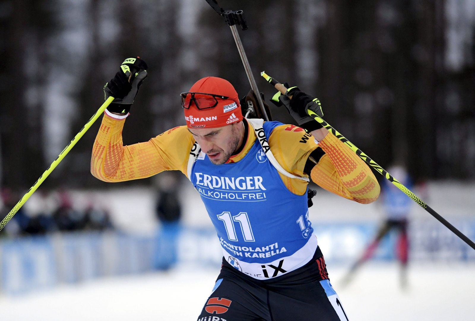 Arnd Peiffer of Germany competes during men s 10 km sprint competition at the IBU World Cup Biathlon Season Opening eve