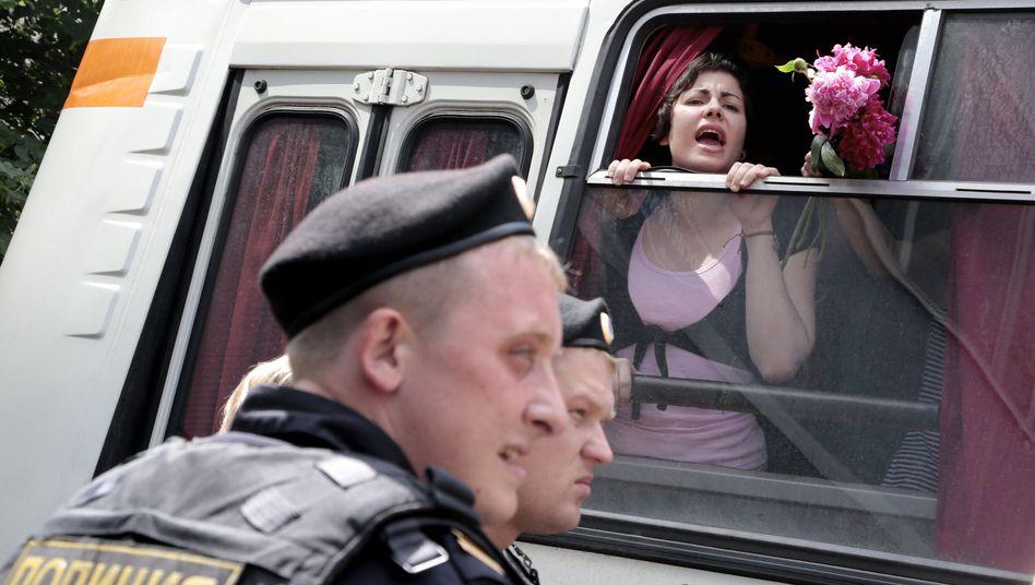 Festgenommene Aktivisten in Russland: Protest gegen Homosexuellen-Gesetz