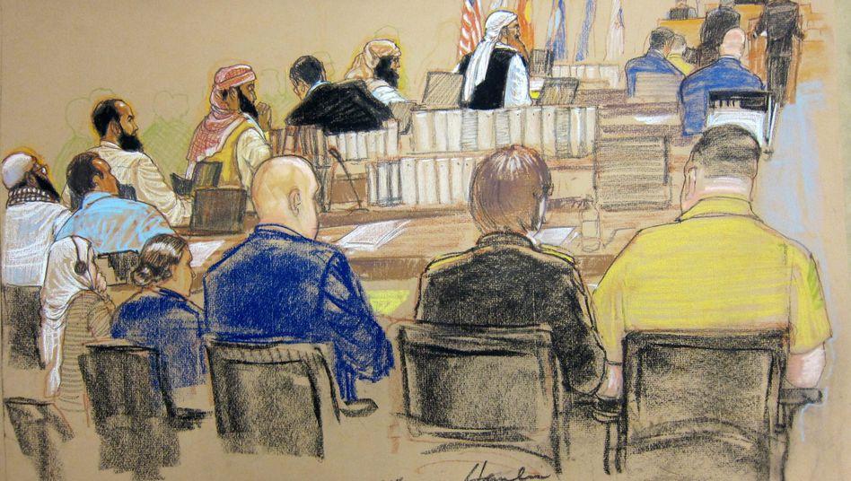 """Zeichnung vom Gerichtssaal: """"Wichtigster Terrorprozess unserer Zeit"""""""