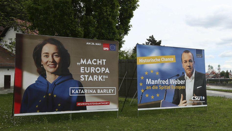 Europawahl-Plakate von SPD und Union