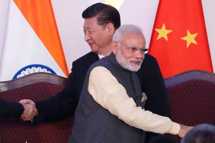 Bessere Zeiten: Modi und Xi bei einem Treffen im indischen Goa im Jahr 2016.