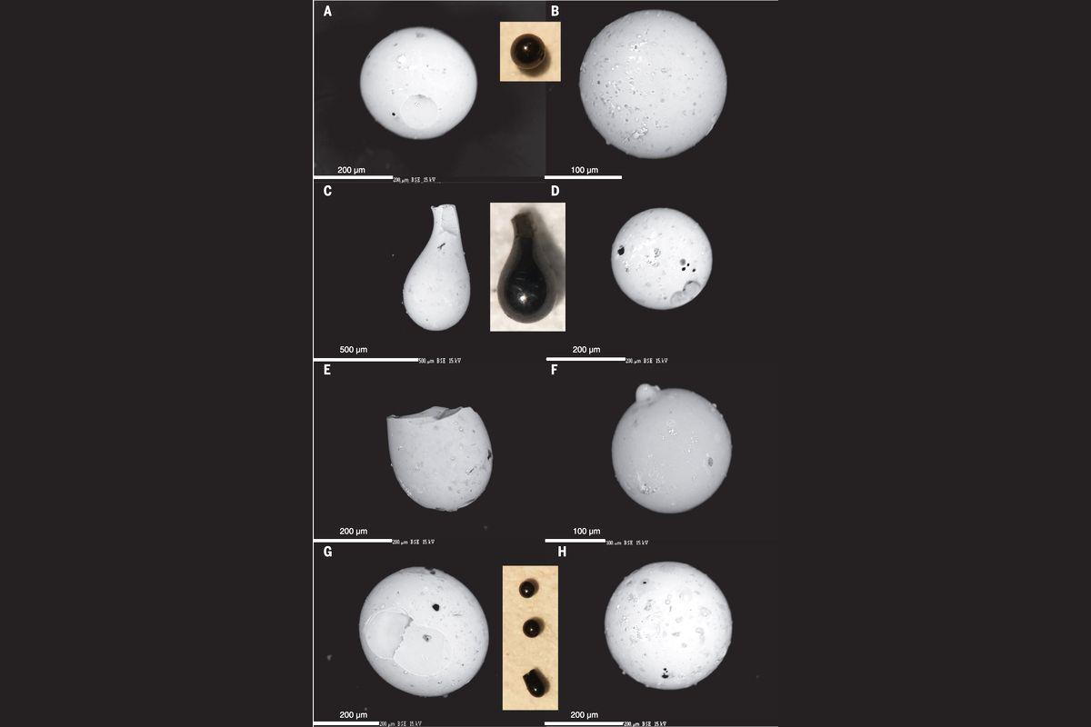 EINMALIGE VERWENDUNG Glaskügelchen/ Bohrkern