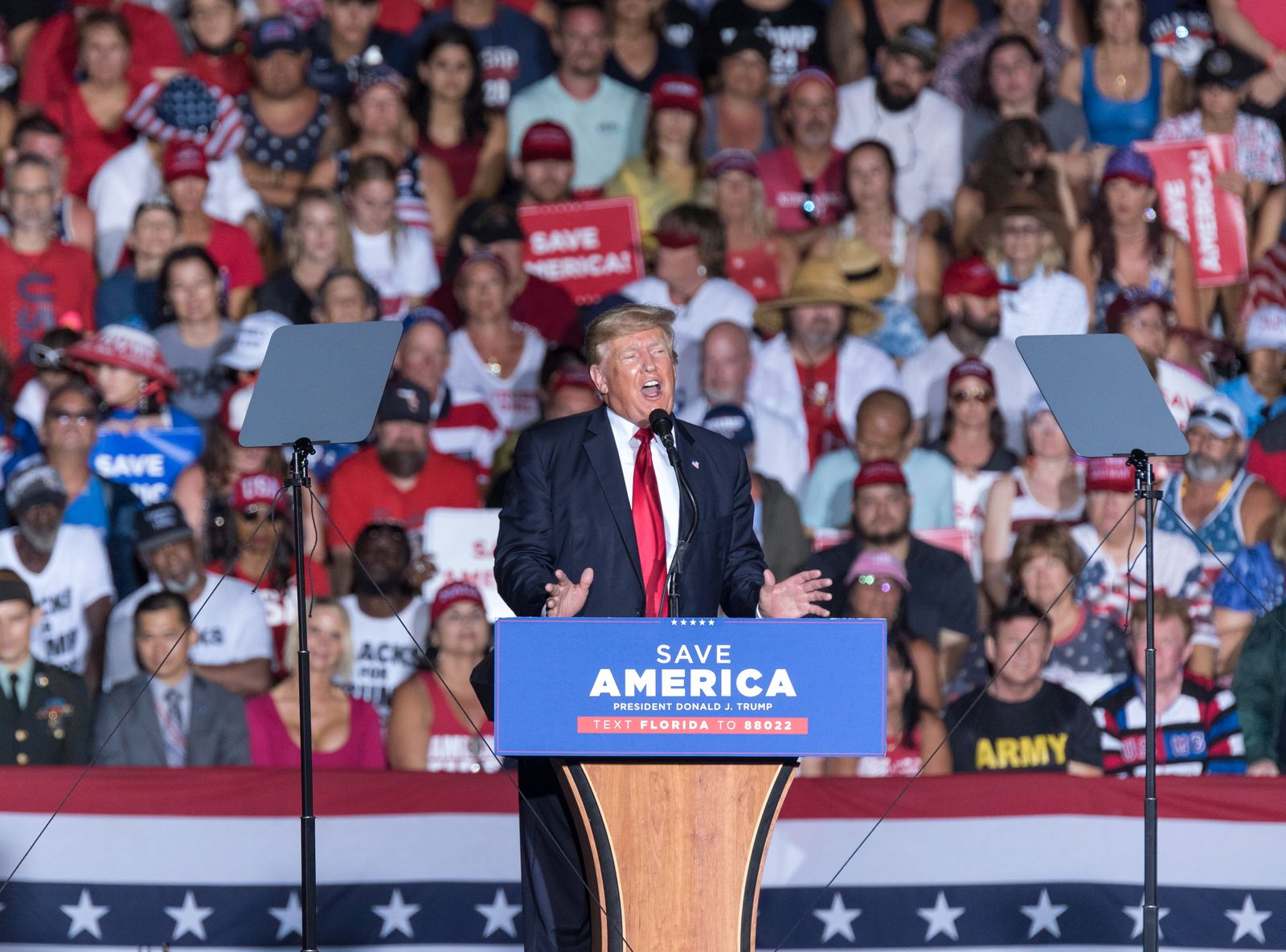 Former US President Donald J. Trump holds rally in Sarasota, Florida