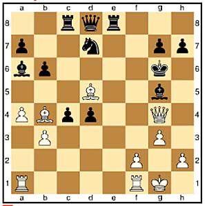 Zug 21, schwarz: ...Lg5. Schwarz wehrt das Schachgebot ab, indem er seinen Läufer dazwischen zieht. Schlechter ist der Fluchtversuch 21...Kh6 22.Ld2+ g5 23.f4 denn 23...Sf8 24.fxg5+ Lxg5 25.Tf5 Lxd2 26.Th5# ist Matt.