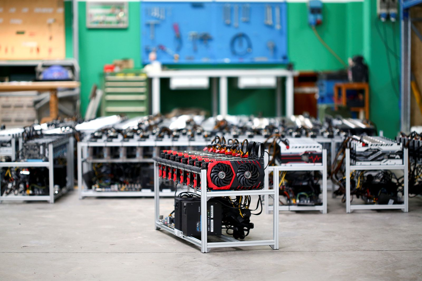 """A """"Mining rig"""" computer server is pictured in Bitminer Factory in Florence"""