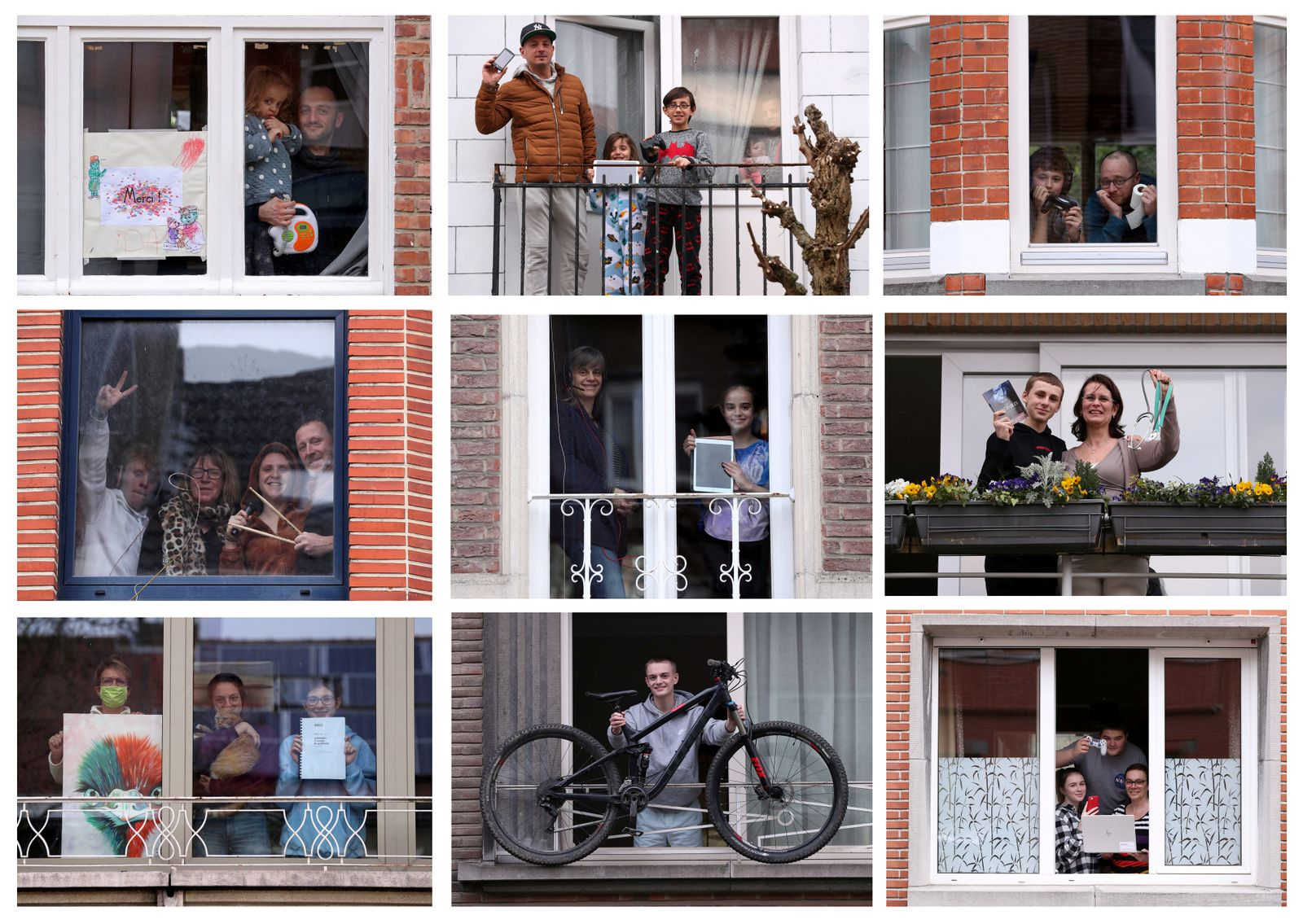 A combination picture of residents posing with an object significant to them during the coronavirus lockdown imposed by the Belgian government in an attempt to slow down the coronavirus disease (COVID-19) outbreak, in Brussels