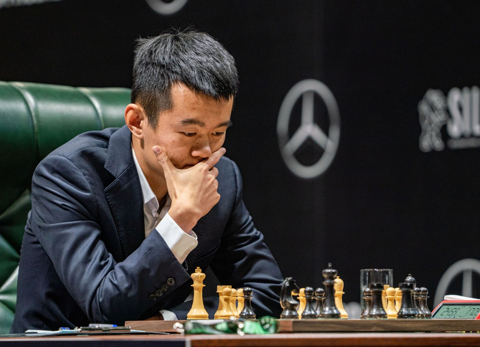 Chinese chess player Ding Liren looks on during the match at the Candidates Tournament in Yekaterinburg