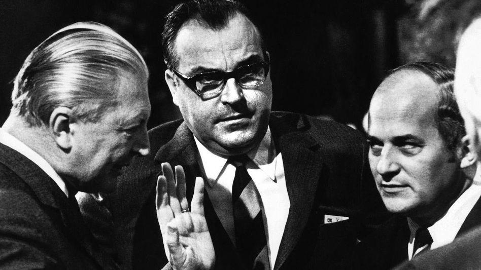 CDU-Politiker Kiesinger, Kohl und Barzel 1969