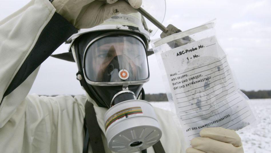 A fireman takes part in a disaster management exercise near the Krümmel nuclear power plant near Hamburg in 2005.