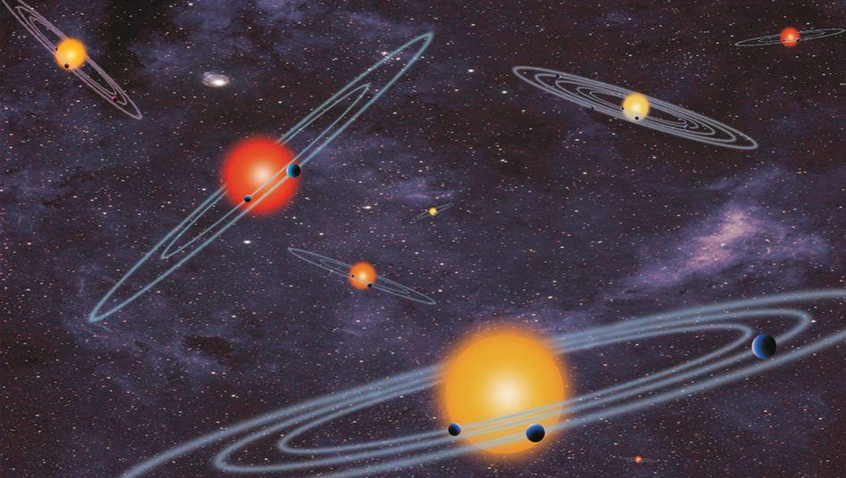 """Planetensysteme (Illustration): Kepler erfasst """"Transits"""" kleinerer Himmelskörper"""