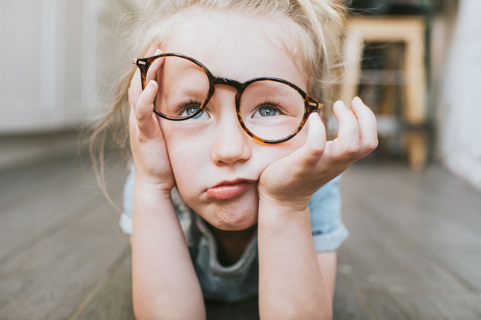 Bored Child in Glasses