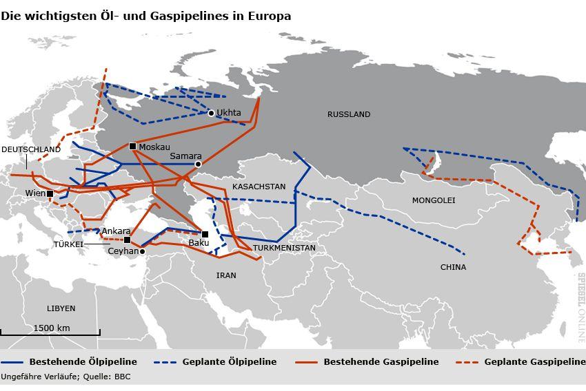 Karte - Die wichtigsten Öl- und Gaspipelines in Europa