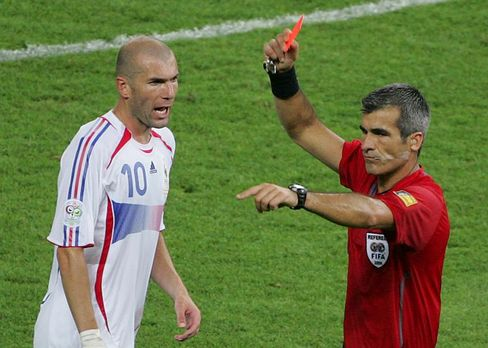 Referee Horacio Elizondo shows the red card to France's Zineidine Zidane during the World Cup final.