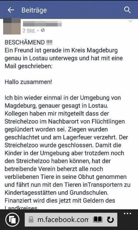 EINMALIGE VERWENDUNG NUR ALS ZITAT Screenshot/ Flüchtlinge/ Magdeburg