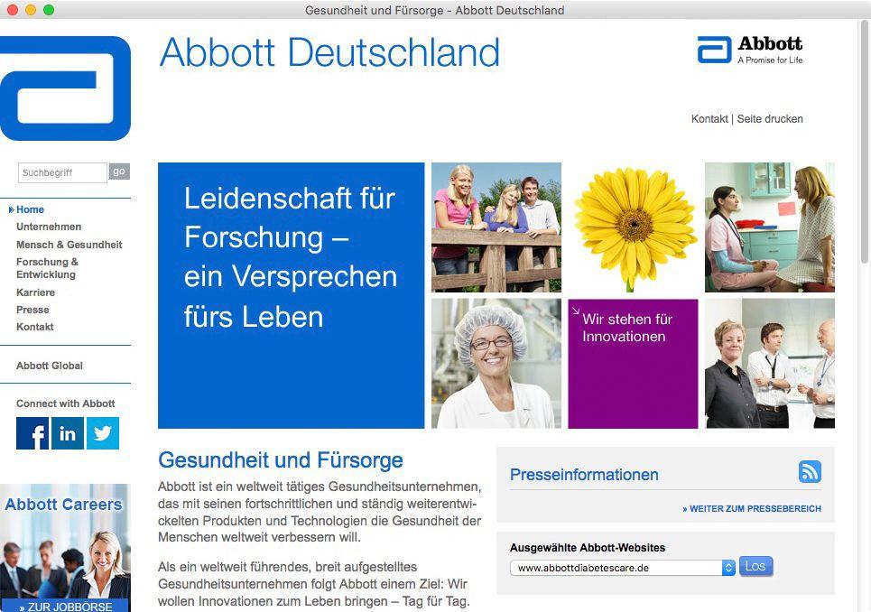 NUR ALS ZITAT Screenshot Abbott Deutschland