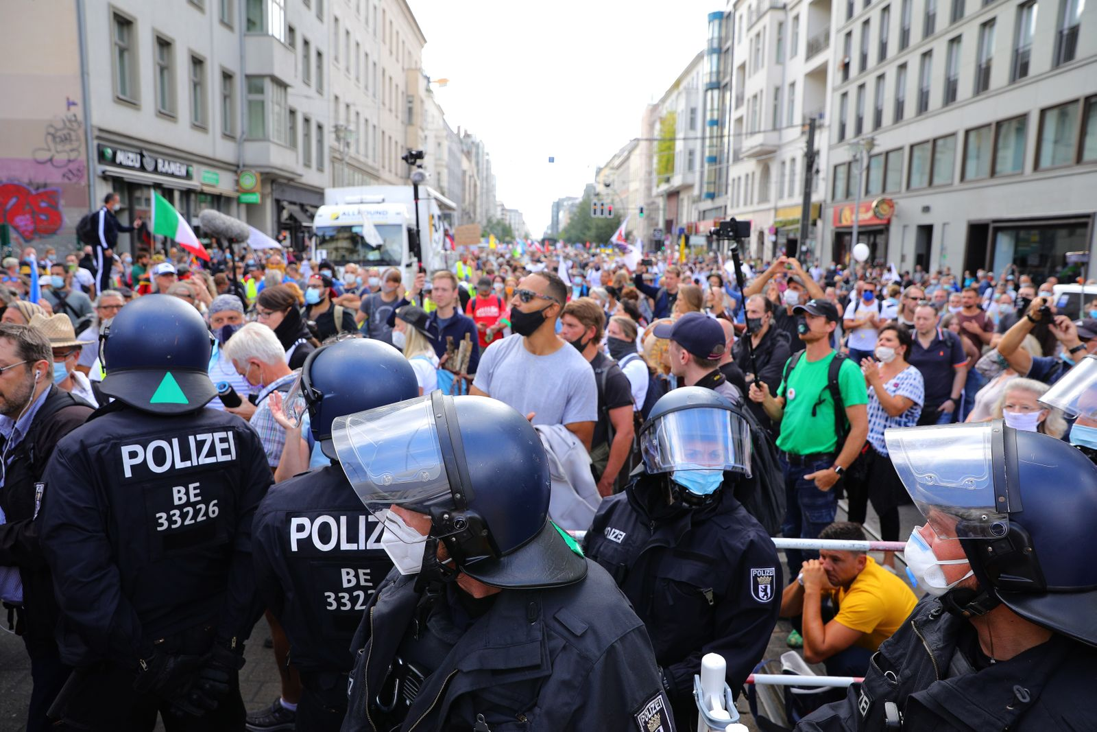 Coronavirus Skeptics And Right-Wing Extremists Protest In Berlin
