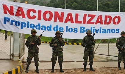 Bolivian soldiers guard the main gate to the San Alberto gas plant in the southern state of Tarija, where President Evo Morales announced the nationalization of the country's petroleum industry last spring.