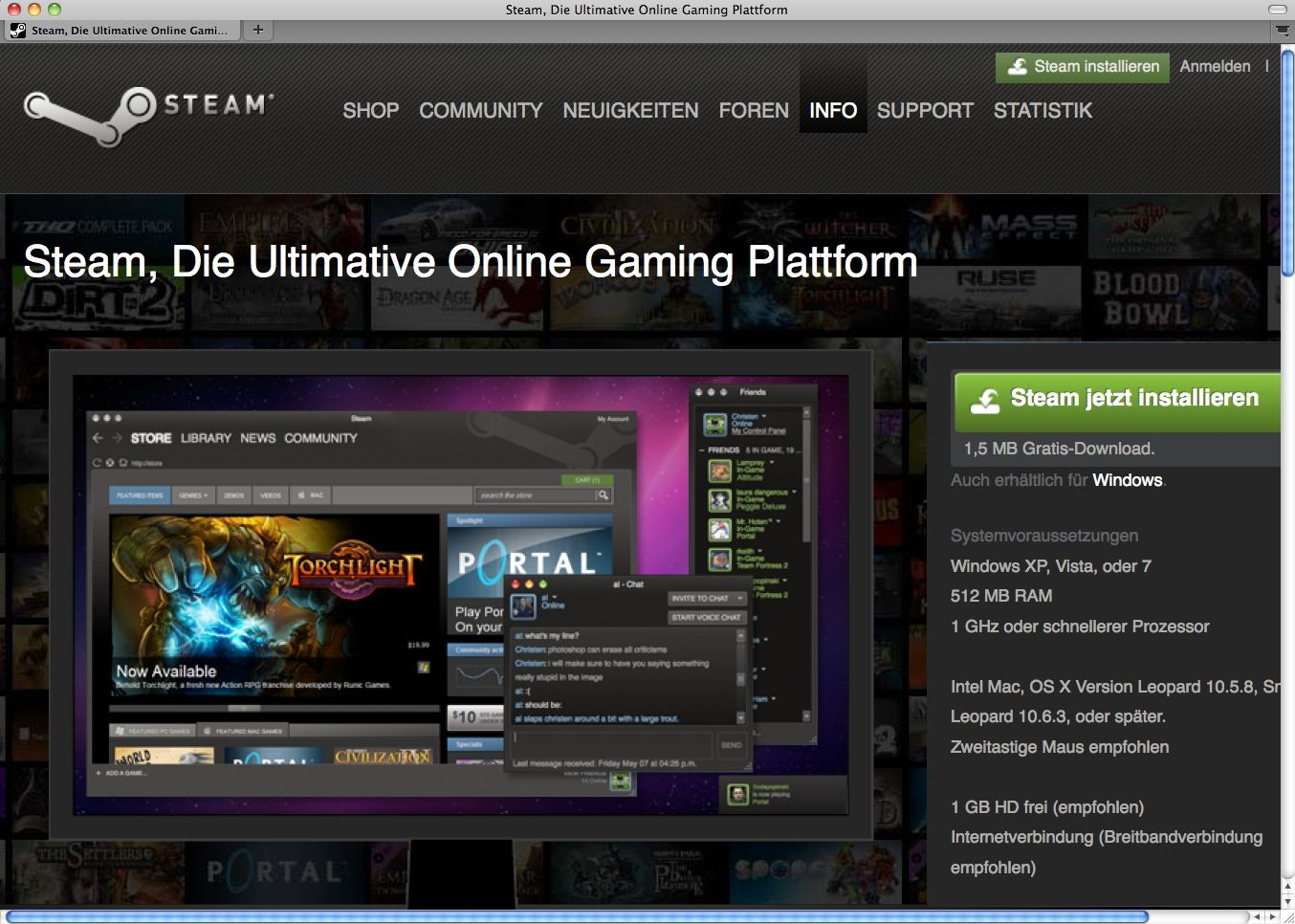 SCREENSHOT Steam / Game Plattform / NETZWELT