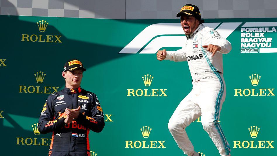Lewis Hamilton (rechts) hat Max Verstappen oft hinter sich gelassen – so soll es bleiben.