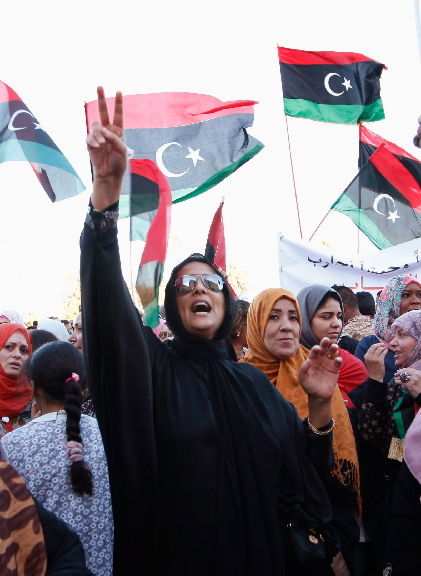 "A supporter shouts during a demonstration in support of former Libyan army officer Khalifa Haftar's ""Operation Dignity"" at Martyrs' Square in Tripoli"